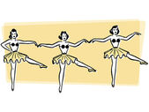 Three ballerinas dancing in a row — Stock Photo