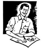 Uma versão preto e branca de uma ilustração de um homem, um desenho em uma mesa — Fotografia Stock