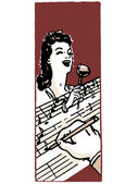 Ilustrace žena zpívá a ruku v popředí zaznamenání poznámek — Stock fotografie