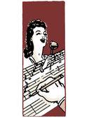 Une illustration d'une femme chantant et une main dans la prise de premier plan notes — Photo