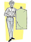 An illustration of a delivery driver holding a suit bag — Stock Photo