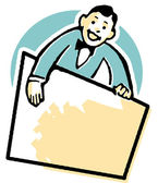 A cartoon style drawing of a vendor holding a blank sign — Stock Photo