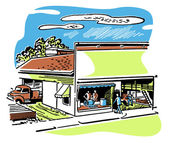 An illustration of a shop front — Stock Photo
