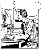 A black an white version of a comic style illustration of a man at a desk talking to a woman in the background — Stock Photo