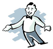 A cartoon style drawing of a man dressed in a lounge suit pointing his finger — Stock Photo
