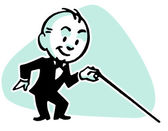 A cartoon style drawing of a small man dressed in a lounge suite with a cane — Stock Photo