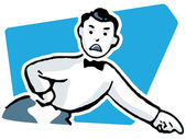 A cartoon style drawing of an unhappy looking man dressed in a suite with bowtie pointing his finger — Stock Photo