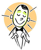 A cartoon style drawing of a happy looking clerk — Stock Photo