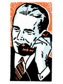 A graphic illustration of a businessman talking on the telephone — Stock Photo