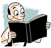 A carton style drawing of a man enjoying a book — Stock Photo