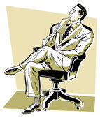 A graphic illustration of a businessman looking perplexed in his office chair — Stock Photo