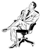 A black and white version of a graphic illustration of a businessman looking perplexed in his office chair — Stock Photo