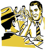 A graphic illustration of two men doing a business deal — Stock Photo