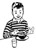 A black and white version of a young boy enjoying his dinner — Stock Photo
