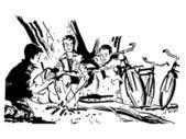 černobílá verze skupina chlapců kolem táborového ohně — Stock fotografie
