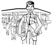 Eine schwarz-weiß-version eine illustration eines kaufmanns außerhalb seiner storefront — Stockfoto