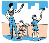 A mother and child painting walls together — Stock Photo