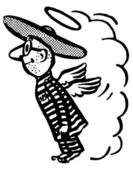 Sombrero içinde uçan bir adam siyah beyaz versiyonu — Stok fotoğraf