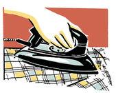 Ironing checkered shirts — Stock Photo