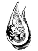 A black and white version of an man in a water drop — Stock Photo