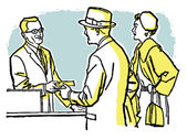A vintage illustration of a couple talking with a pharmacist — Stock Photo