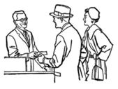 A black and white version of a vintage illustration of a couple talking with a pharmacist — Stockfoto