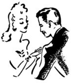 A black and white version of a vintage illustration of a man and woman flirting — Stock Photo