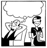 A black and white version of a cartoon style image of a couple with a large speech bubble above — Stock Photo