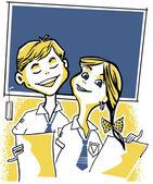 Eine abbildung von zwei jungen schulkindern — Stockfoto