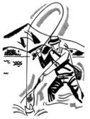 A black and white version of a cartoon style image of a man fishing — 图库照片