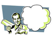 A vintage illustration of a man with a speech bubble — Stock Photo
