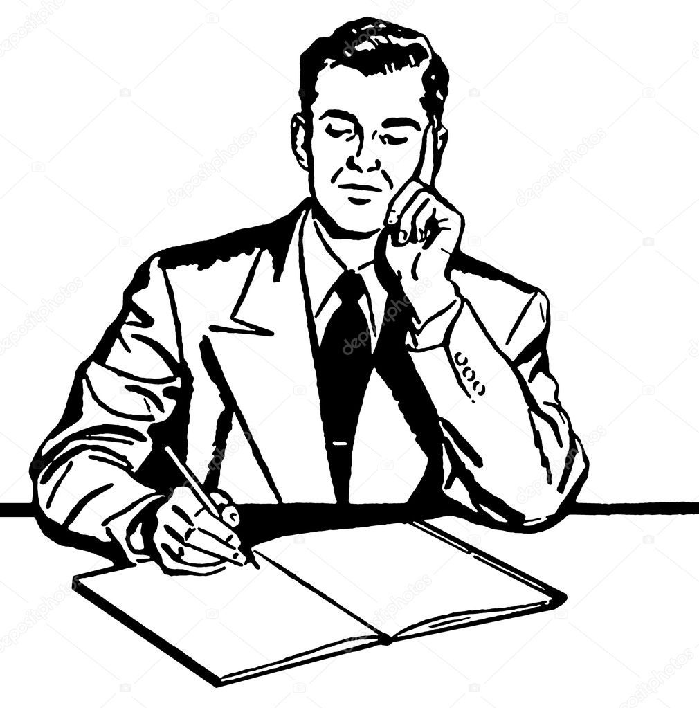 A black and white version of a graphic illustration of a business man working hard at his desk — Stock Photo #12124927