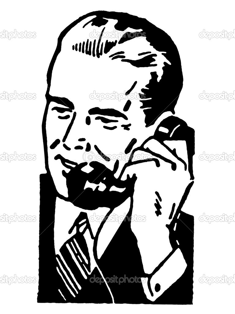 A black and white version of a graphic illustration of a businessman talking on the telephone — Stock Photo #12124945