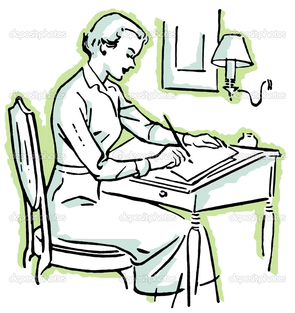 A black and white version of a line drawing of a woman at a writing desk  Stock Photo #12125075