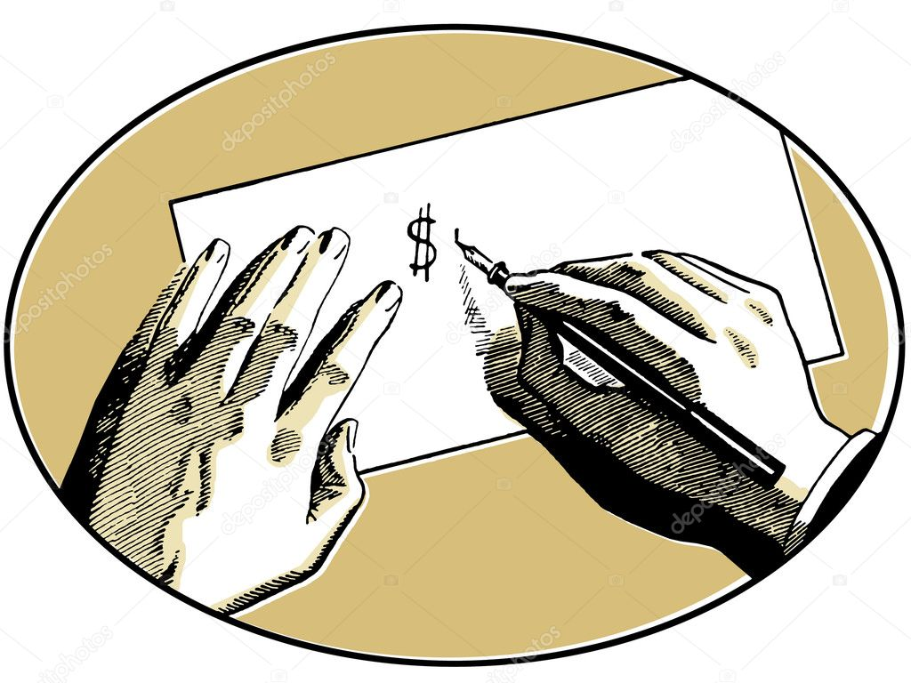 An illustration of two hands on a desk writing a dollar symbol  Stock Photo #12125088