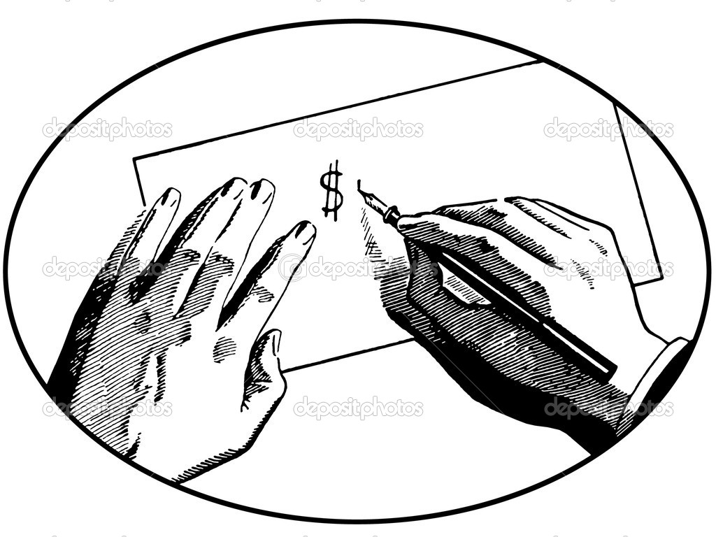 A black and white version of an illustration of two hands on a desk writing a dollar symbol — Stock Photo #12125092