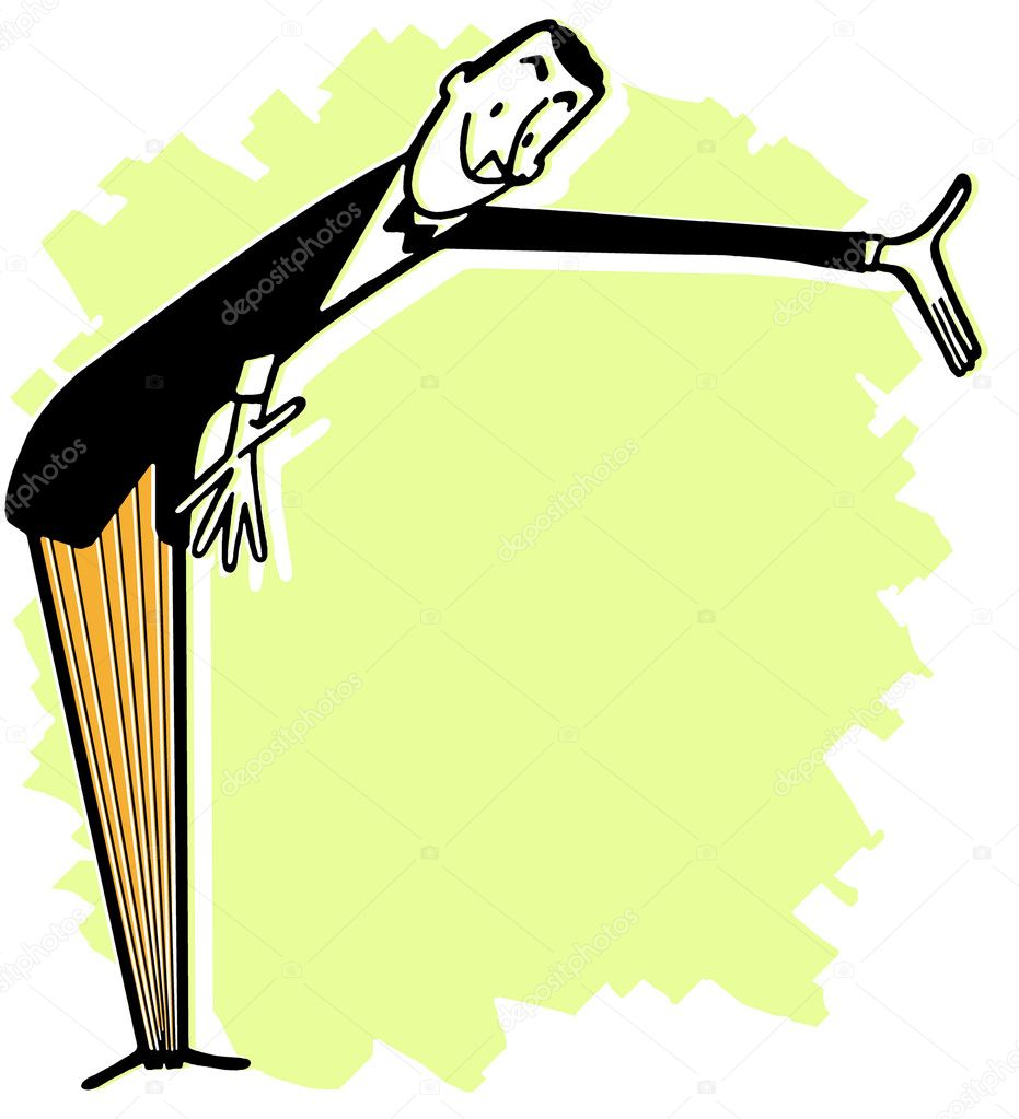 A cartoon style man giving an introduction — Stock Photo #12125093