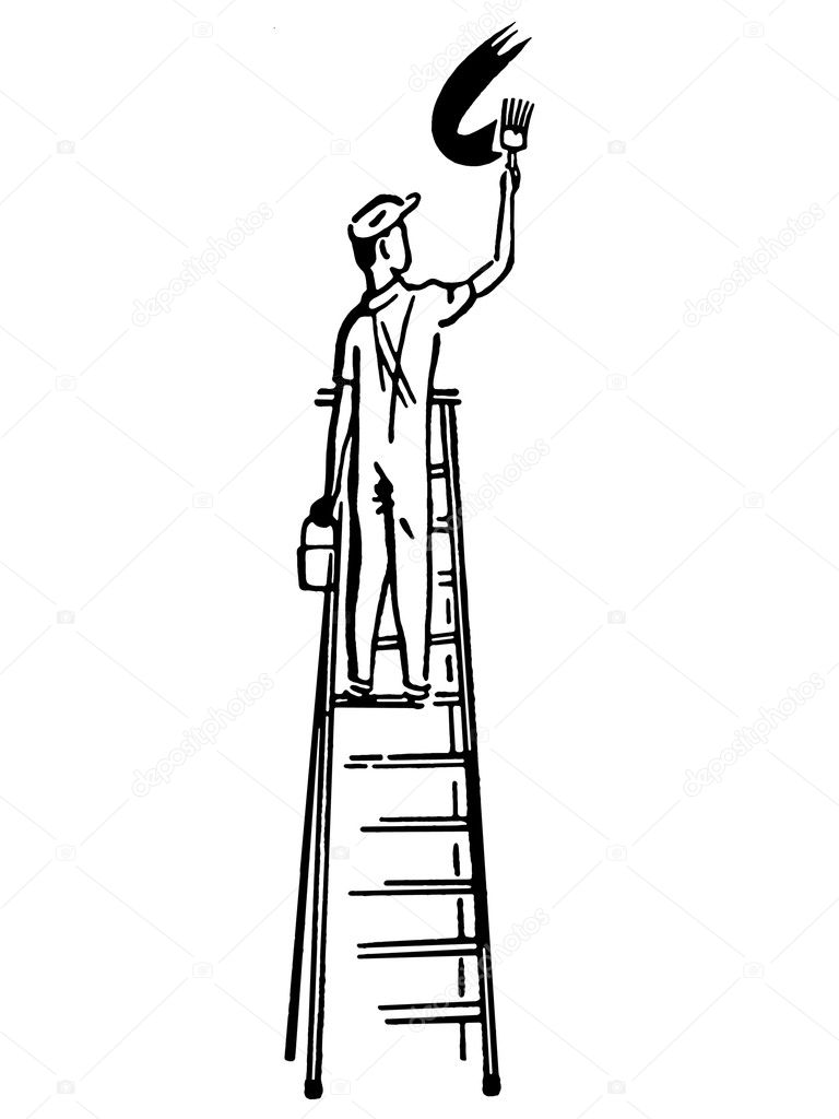 A black and white version of an illustration of a man climbing a ladder — Stock Photo #12126363