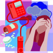 Collage of a bottle of spilled pills, a telephone with receiver — Foto de Stock