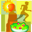 Collage of a sun, a girl, a child running and a salad — Stock Photo