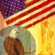 Collage depicting the United States with an eagle, flag, and the — Stock Photo #12173143