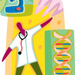 A doctor analysing the DNA — Stock Photo