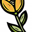Stock Photo: Illustration of yellow tulip