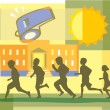 Stock Photo: Children running, school and whistle montage