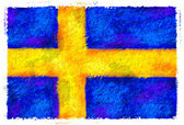 Drawing of the flag of Sweden — Stock Photo