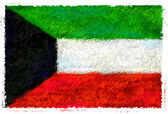Drawing of the flag of Kuwait — Zdjęcie stockowe