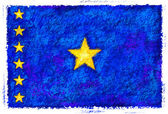 Drawing of the flag of Democratic Republic of the Congo — Stock Photo