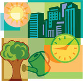 A montage of high-rise buildings, clock, tree, watering can and — Stock Photo