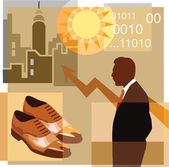 A montage of a man, pair of shoes, sun, graph, high-rise buildin — Stock Photo