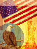 Collage depicting the United States with an eagle, flag, and the — Stock Photo